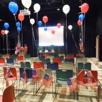 Flags and balloons - red white and blue